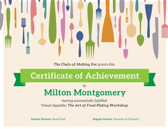 Cooking Workshop Utensils Achievement Certificate - Templates by Canva - food voucher template