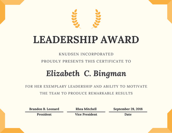 Trophy Leadership Award Certificate - Templates by Canva