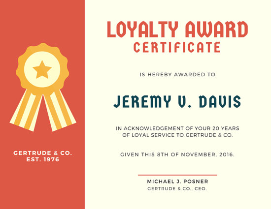 Ribbon Loyalty Award Certificate - Templates by Canva - award certificate template