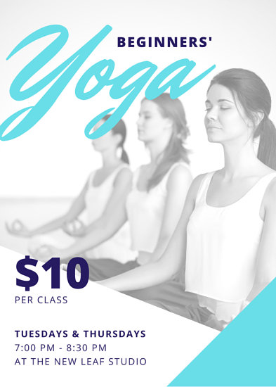 Turquoise Blue Yoga Fitness Flyer - Templates by Canva - yoga flyer