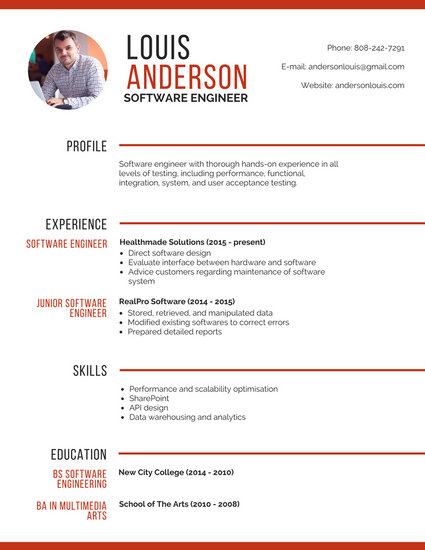 Professional Software Engineer Resume - Templates by Canva - fill in resume templates