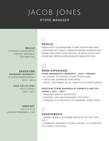 Professional Store Manager Resume - Templates by Canva - store manager resume template