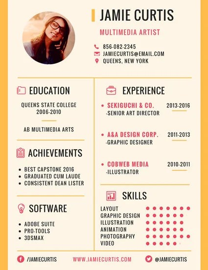 Minimal Multimedia Artist Resume - Templates by Canva - artistic resume templates
