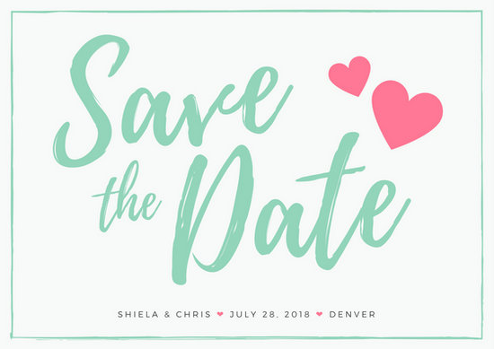 Mint Save the Date Wedding Postcard - Templates by Canva
