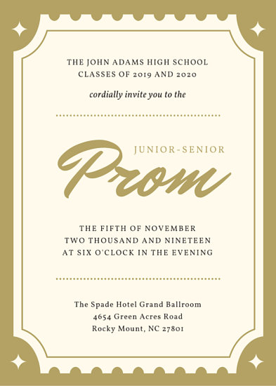 Golden Ticket Hollywood Prom Invitation (Portrait) - Templates by Canva