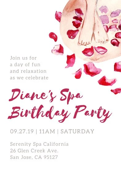 Pink Petals Spa Birthday Party Invitation - Templates by Canva - spa invitation