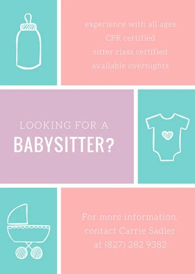 Customize 57+ Babysitting Flyer templates online - Canva