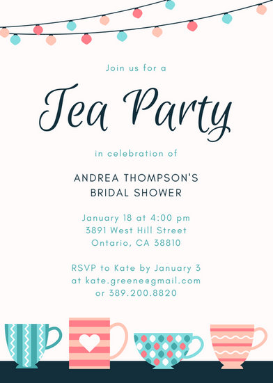 Patterned Teacups Tea Party Invitation - Templates by Canva