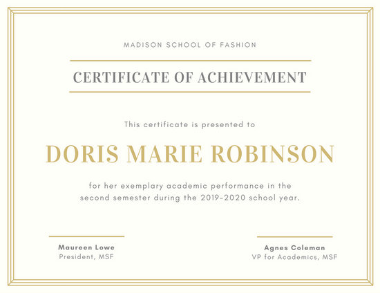 Gold and Cream Academic Achievement Certificate - Templates by Canva - certificate of achievement for students