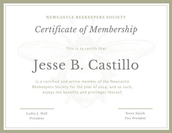 Bee Sketch Membership Certificate - Templates by Canva - membership certificate templates