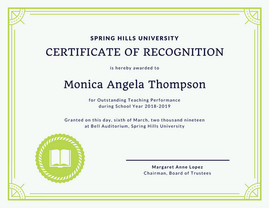 Customize 204+ Recognition Certificate templates online - Canva - blank certificate of recognition