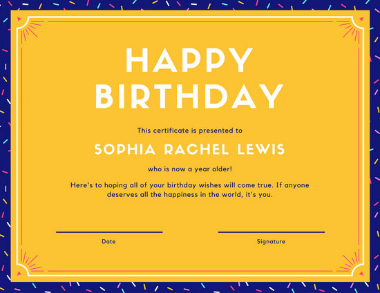 Violet and Turquoise Shopping Birthday Gift Certificate - Templates
