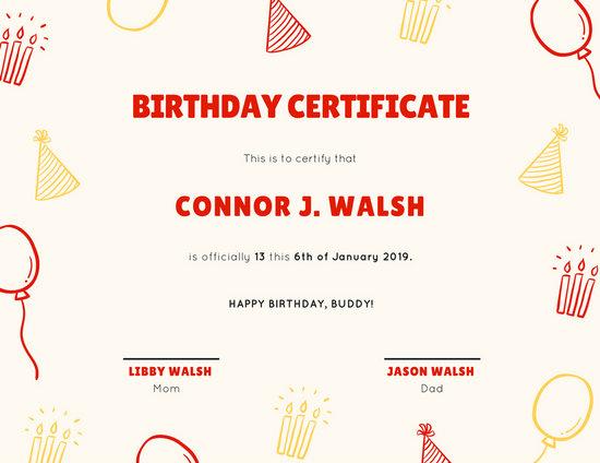 Cream Birthday Pattern Birthday Certificate - Templates by Canva