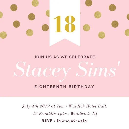 Pink Gold Dots Eighteenth Birthday Invitation - Templates by Canva