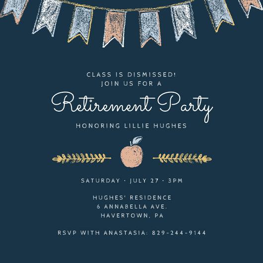 Pastel Chalk Teacher Retirement Party Invitation - Templates by Canva