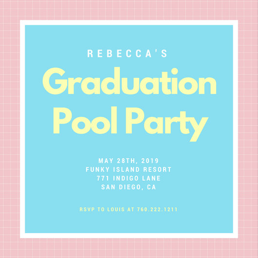 Blue Pool Graduation Party Invitation - Templates by Canva - graduation party invitations