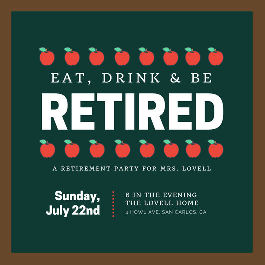 Green Chalkboard Teacher Retirement Party Invitation - Templates by