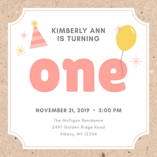Pink and Yellow Party Hat and Balloon First Birthday Invitation