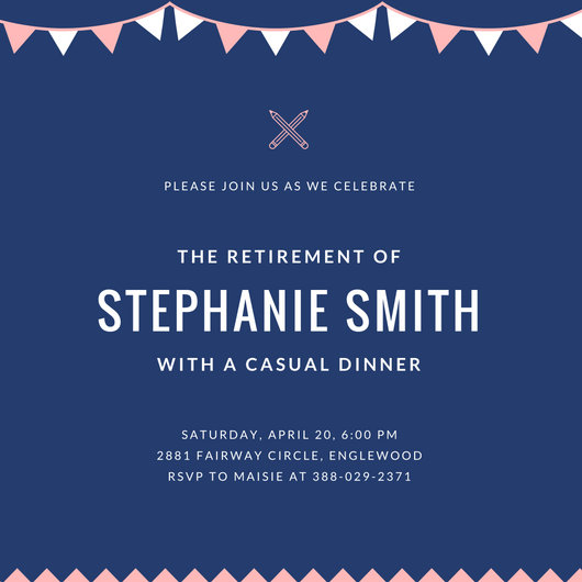 Pink and White Bunting Teacher Retirement Party Invitation