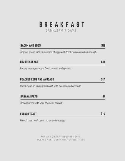 Customize 245+ Breakfast Menu templates online - Canva