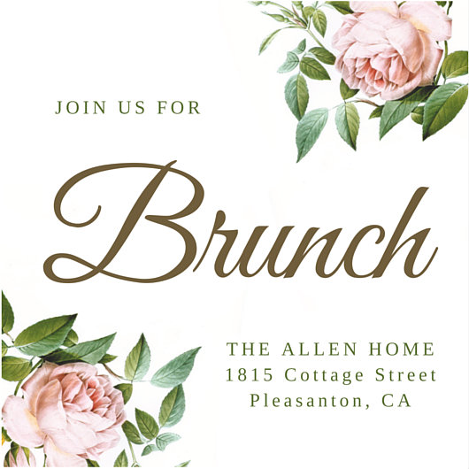 Pink Flowers Brunch Invitation - Templates by Canva