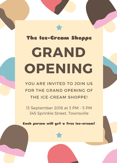 Delightful Grand Opening Invitation Flyer - Templates by Canva