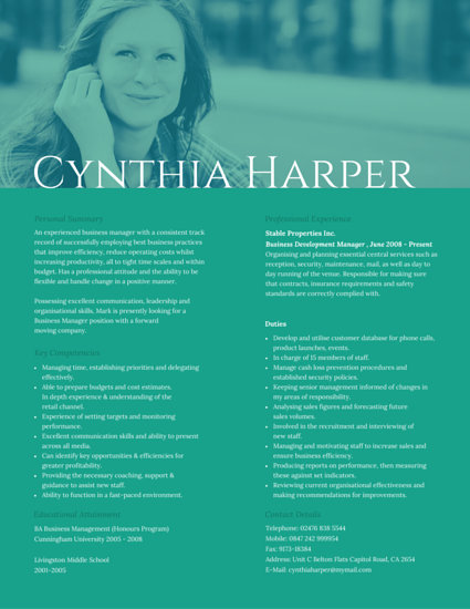 Prominent Business Manager Resume - Templates by Canva