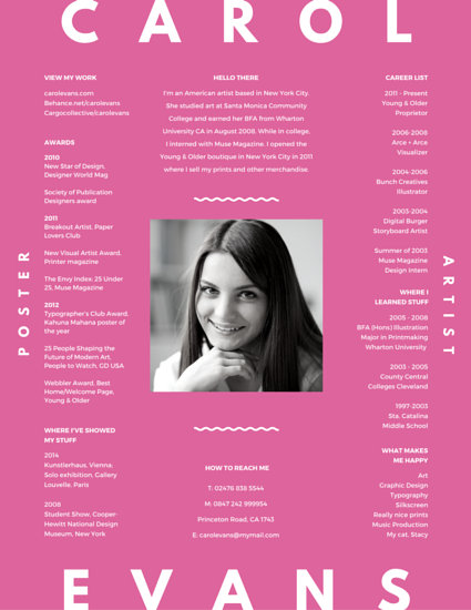 Pop Pink Professional Artist Resume - Templates by Canva