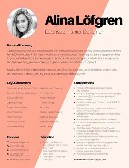 Creative Interior Designer Resume - Templates by Canva - interior design resumes