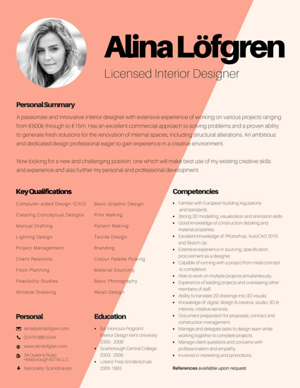 Creative Interior Designer Resume - Templates by Canva - Interior Design Resume Examples