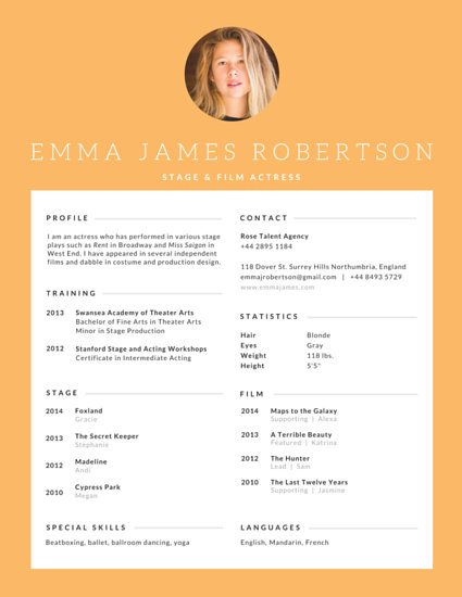 Stage and Film Actress Resume - Templates by Canva - acting cv template