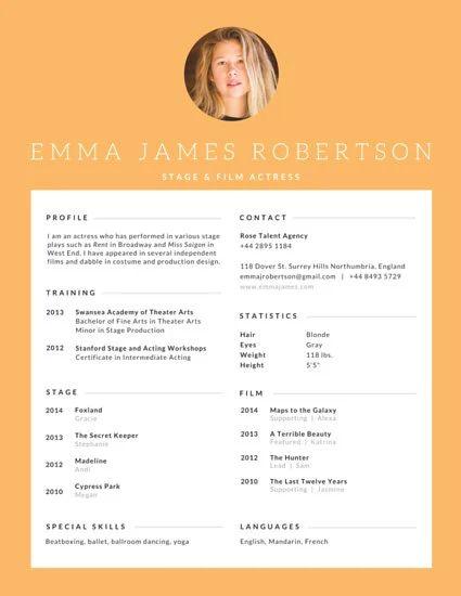 canva film resume templates