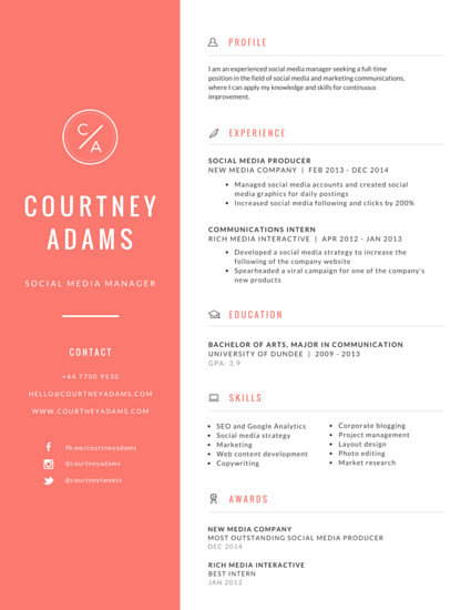Bright Social Media Manager Resume - Templates by Canva - Resume Social Media