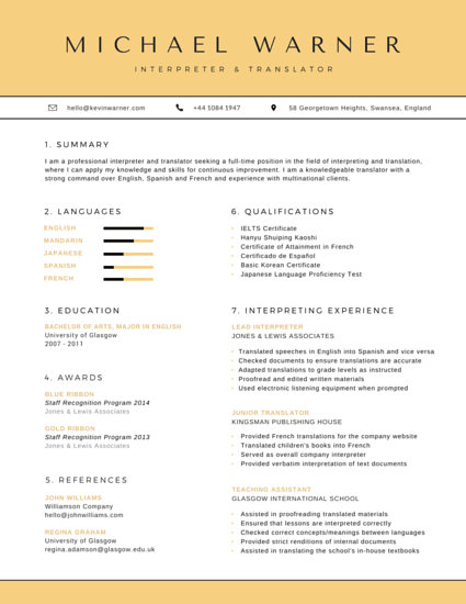 Organized Interpreter and Translator Resume - Templates by Canva