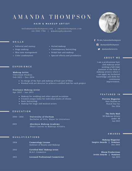hair and makeup artist resume