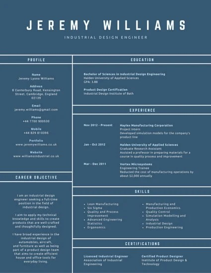 Conventional Industrial Design Engineer Resume - Templates by Canva - Engineer Resume Template