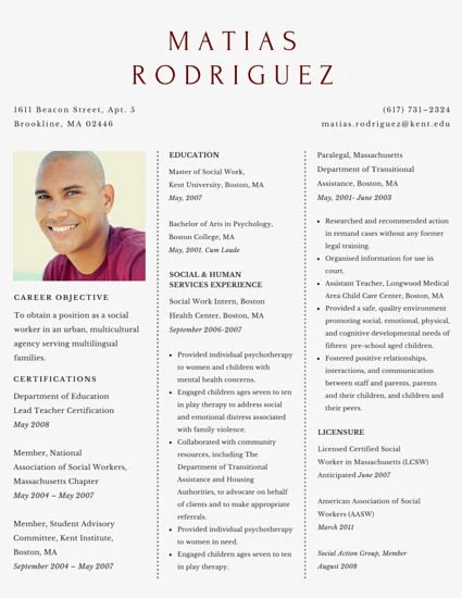 Simple Social Worker Resume - Templates by Canva - social work resumes