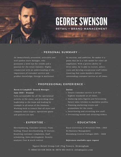 Retail Brand Manager Resume - Templates by Canva - brand manager resume