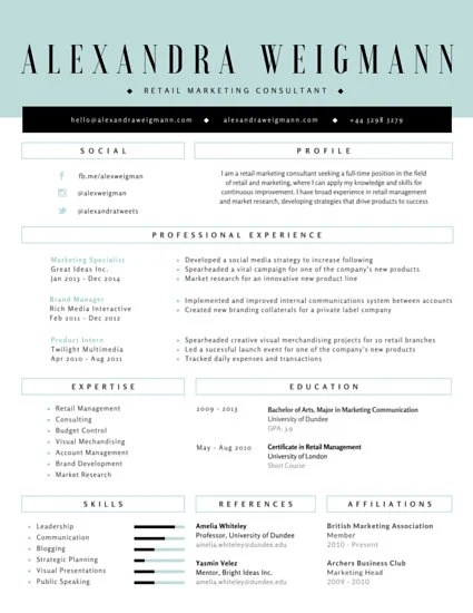 Formal Retail Marketing Consultant Resume - Templates by Canva - Social Media Consultant Sample Resume