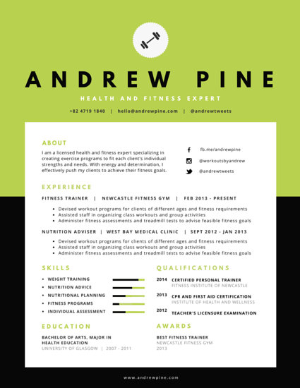 Health and Fitness Expert Resume - Templates by Canva