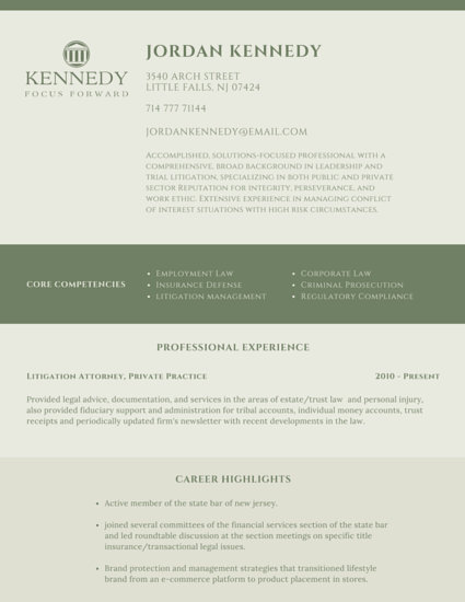 Classic Legal Attorney Resume - Templates by Canva - Law Resume Template