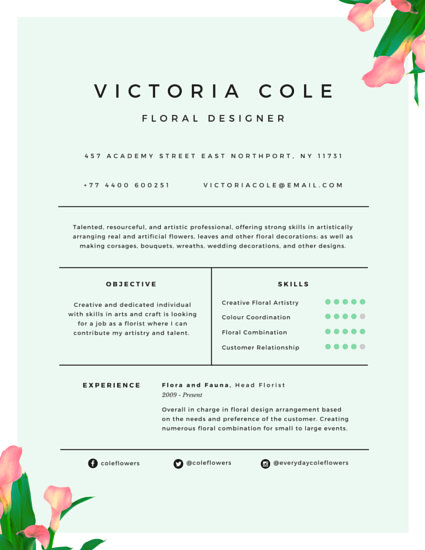 Charming Floral Designer Resume - Templates by Canva - floral designer resume