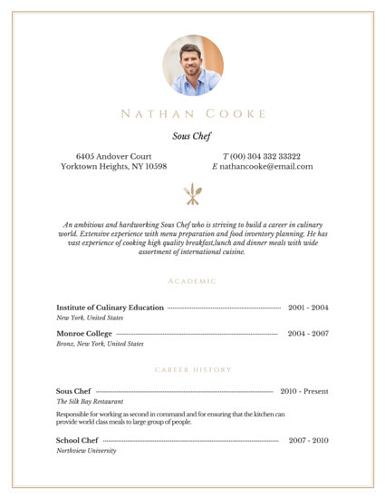 Professional Sous Chef Resume - Templates by Canva