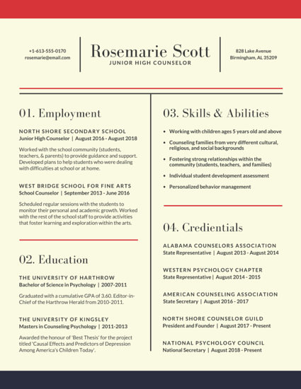 Neat School Counselor Resume - Templates by Canva - counselor resume
