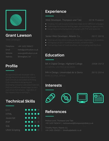 Techie Web Developer Resume - Templates by Canva - web design resume