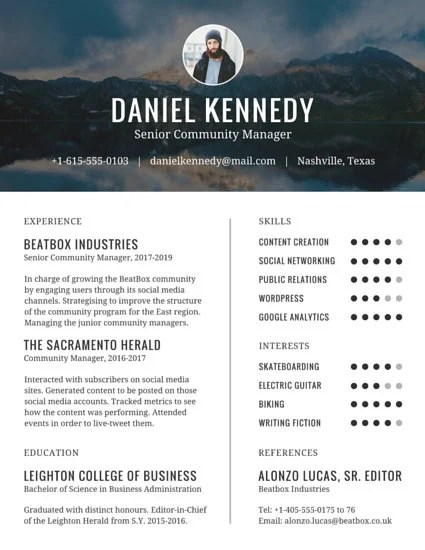 Universal Community Manager Resume - Templates by Canva