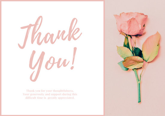 Funeral Thank You Card Templates - Canva - funeral thank you note