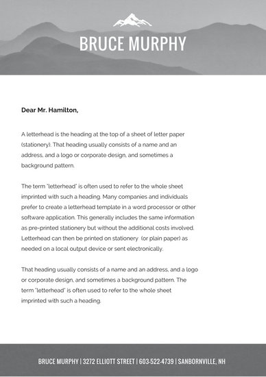 Greyscale Mountain Personal Letterhead - Templates by Canva