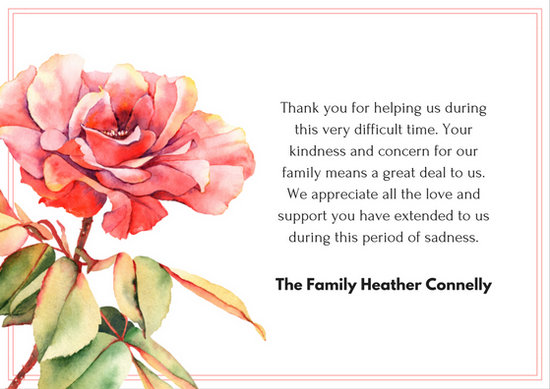 Pink Frame Watercolor Red Rose Sympathy Thank You Card - Templates