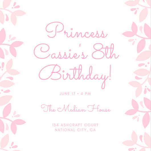Pink Leaves Princess Invitation - Templates by Canva